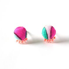 Fabric Beaded Stud Earrings  Limited Edition Wavy Palms