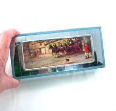 Very cool vintage c1940 jewelry box with a lithograph picture of an English village on the top, which is protected with clear plastic. The