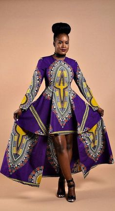 Long sleeve Dashiki formal dress Please make sure to pick your fabric choice.  Overview Handmade item Made to order Material:cotton Ships worldwide fromGhan