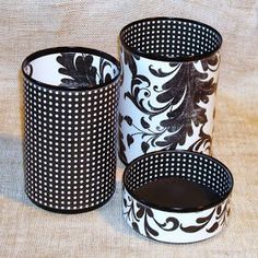 Black and White Pen and Pencil Holder contemporary desk accessories (DIY with mod podge and cans? Tin Can Crafts, Home Crafts, Crafts To Make, Fun Crafts, Arts And Crafts, Idées Mod Podge, Contemporary Desk Accessories, Diy Projects To Try, Craft Projects