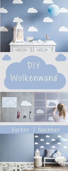 Himmlisches DIY: Wolkenwand Sofia Xaidou The post Himmlisches DIY: Wolkenwand Sofia Xaidou appeared first on Babyzimmer ideen. Baby Bedroom, Baby Boy Rooms, Nursery Room, Girls Bedroom, Nursery Decor, Blue Bedrooms, Bedroom Ideas, Wall Stickers Clouds, White Wall Stickers