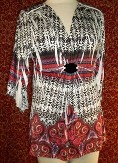Black & White floral artsy stretch poly 3/4 sleeve tunic blouse PL (T44-02L6G) #Unbranded #Blouse #Casual
