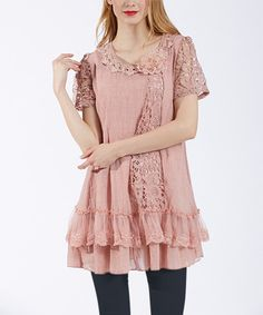 Look at this #zulilyfind! Simply Couture Mauve Crochet-Accent Ruffle-Tier Tunic by Simply Couture #zulilyfinds