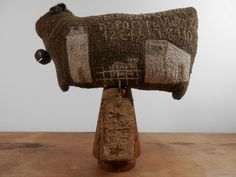 sheep folk art needle punch primitive upscale by thesimplequiet, $125.00