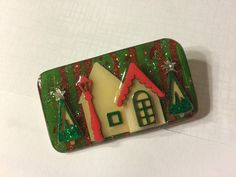 Vintage Signed House Pins By Lucinda Christmas Enamel Glitter Holiday Brooch  | eBay