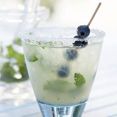 Blueberry Mojitini What do you get when the trendy mojito meets the classic martini? This blueberry flavored mojitini. A berry-infused vodka brings the fruity flavor and freshly muddled mint leaves add a level of herbal sophistication.