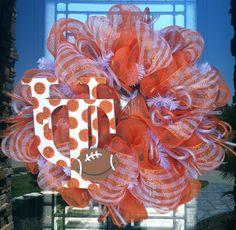 Tennessee Volunteer deco mesh Wreath. $80.00, via Etsy.