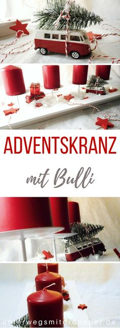 Driving home for christmas - ein Adventskranz mit Bullis On with Bullis. A VW bus in t Driving Home For Christmas, Christmas Home, Xmas, Holiday Gifts, Christmas Gifts, Holiday Decor, Advent Wreath, Diy Weihnachten, Christmas Gift Wrapping