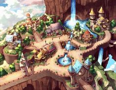 Image result for stylized fantasy town game level