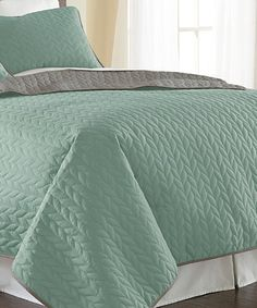 Loving this Jade & Atmosphere Reversible Quilted Coverlet Set on #zulily! #zulilyfinds