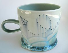 READY TO SHIP Cloudy Paper Airplane by SilverLiningCeramics, $36.00
