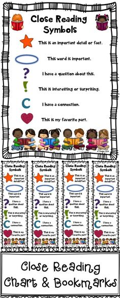 Use these Close Reading symbol charts & bookmarks with your BACK TO SCHOOL read alouds to introduce close reading. The file includes 2 charts ( in color and blackline masters) and bookmarks (color and blackline master). You can use these as anchor charts,