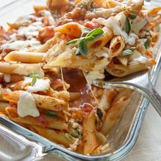 Skinny 3 cheese penne - vegetarian meal option or add ground turkey.