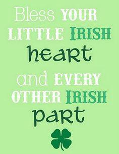 Bless your little Irish Heart printable 8x10