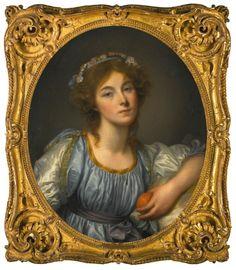 JEAN-BAPTISTE GREUZE | A young girl holding an orange