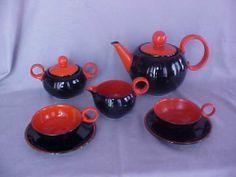 Rare Highly Stylized Czech Art Deco 1930s Ditmar UrbachRed Black Tea SET