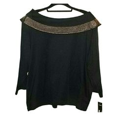 REDUCED PRICEShawl Neck Knit Black shawl neck knit with bronzy colored studding around the whole top. Rafaella Tops
