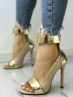 aa8cb553812c Shop Colorblock Splicing Open Toe Thin Heeled Sandals – Discover sexy women  fashion at IVRose