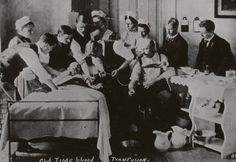 "Subject:  Bellevue Hospital  Subject:  Nurses  Subject:  Hospitals  Description:  ""Old Time Blood Transfusion"" 4 nurses, 6 male medical staff attend to donor and recipient.  Date:  1890-1900"