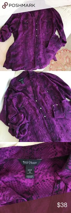 """White House Black Market silk shirt Richly colored silk in a """"deep grape"""" color snakeskin print with bits of black throughout. Wonderful tailoring, silver buttons accent at cuffs, epaulets, and sleeves that can be rolled up with tabs or full length.  Gorgeous! White House Black Market Tops Button Down Shirts"""