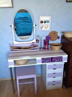Not these colors but this would be a good solution for a makeup table. Dump A Day Amazing Uses For Old Pallets - 40 Pics