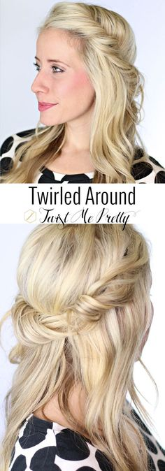 I absolutely love the simple undone look of this hairstyle.  To see this tutorial and hundreds of others, visit Twist Me Pretty: