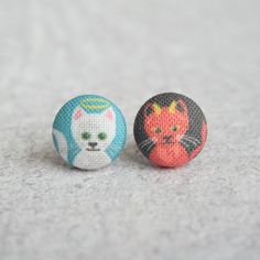 Good and Evil Kitties Fabric Covered Button Earrings by RachelOs