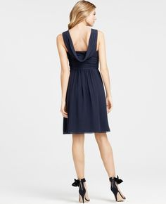 Petite Silk Georgette Draped Back Bridesmaid Dress - Lyst
