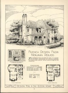 French Norman Style Cottage in Lake Shore Lumber & Coal Vintage House Plan Book. Great vintage bookcase and fireplace design detail. Sims House Plans, Small House Plans, House Floor Plans, Vintage House Plans, Vintage Houses, Storybook Homes, Antique House, Mansions Homes, House Drawing