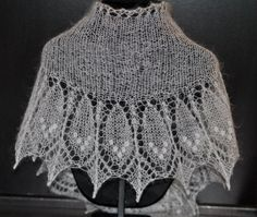 Lace Indian Feather Shawl Hand Knit Delicate Lace by mysticneedle