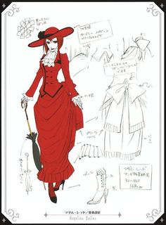 Madame Red - Angelina Durless / Character sheets / Concept art / By Yana Toboso
