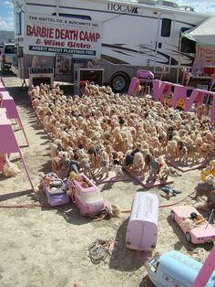 Barbie Death Camp - love these guys, I've camped with them for years, good times - this is about 1500 mutilated barbie and ken dolls, sick, twisted, fabulous!