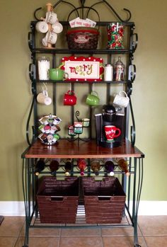 Turn a baker's rack into a cute coffee bar. I could store my coffee syrups in the wine holders!