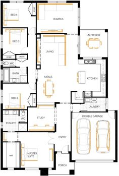 Dakota 27 Floor Plan New House Plans, Dream House Plans, House Floor Plans, Sims House, Dream Home Design, House Design, Building Plans, Building A House, Home Additions