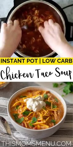 Creamy Chicken Taco Soup Low Carb Chicken Taco Soup is a quick and easy dish that the entire family will love! It can be prepared in an instant pot or a slow cooker! Best Instant Pot Recipe, Instant Pot Dinner Recipes, Instant Pot Meals, Chicken Breast Instant Pot Recipes, Instant Pot Pressure Cooker, Pressure Cooker Recipes, Low Carb Slow Cooker, Beef Stew Slow Cooker, Pressure Cooker Chicken