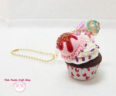 Strawberry ice cream chocolate cupcake polymer clay keychain