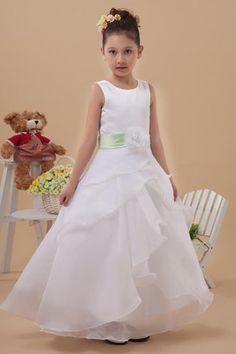 Abito da Cerimonia Bambini in Organza con Fusciacca Romantico Naturale Principessa