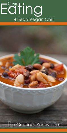 Clean Eating 4 Bean Vegan Chili---used chicken broth so ours did not qualify as vegan. Used 2 cans of black beans, one great northern, and a cup and a half of already cooked quinoa. Everything else was per the recipe. Very good!!
