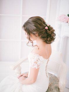 chic rustic wedding curly wedding updo