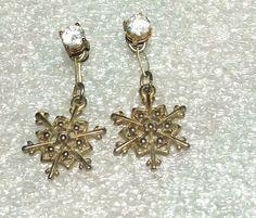 Women's Fashion Goldtone Snowflake Rhinestone Pierced Earrings #Notspecified