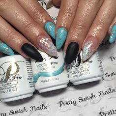 Lovely Combination of Blue and Black for nails! So Glam!