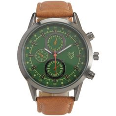 Aeropostale Prince & Fox Faux Leather Chronograph Watch (28,700 KRW) ❤ liked on Polyvore featuring men's fashion, men's jewelry, men's watches, light brown, mens leather strap watches, men's blue dial watches, colorful mens watches and mens chronograph watches