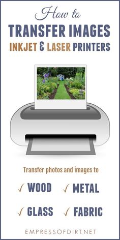 There are many options for transferring images and photos to surfaces like wood fabric glass metal and plastic. Print out your favourite images from an inkjet or laser printer use a transfer medium and get crafty. Transfer Photo To Glass, Transfer Images To Wood, Picture Transfer To Wood, Paper Transfer To Wood, Mod Podge Photo Transfer, Heat Transfer Vinyl, Laser Printer, Inkjet Printer, Glass Printing