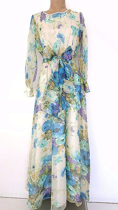 Avalon Dress Size Medium Sheer Chiffon Beaded by JadeDesignVintage