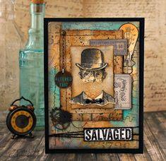 Handmade Card Using Tim Holtz Dapper & Inventor 2 Stamp Sets