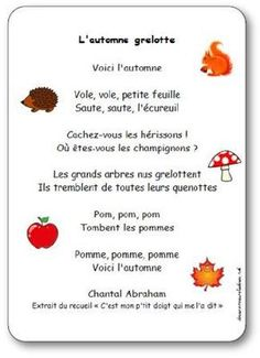 Nursery rhyme Chantal Abraham's shivering fall Illustrated lyrics to print French Teaching Resources, Teaching French, Teaching Tools, Learning Resources, French Poems, Core French, French Education, Petite Section, French Classroom