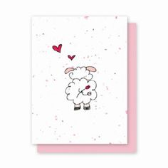 Any Day Ewe - 4 Pack  Availability: Usually Ships in 3-5 business days  This adorable Any Day Ewe is printed on Speckled Pink Grow a Note Paper and is perfect for any day to show someone you care.  Each card is embedded with a colorful array of Wildflower seeds.  The recipient can plant their card in the ground and watch it grow. Planting instructions are printed on the back of every card along with the seed mixture.