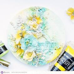 Round mixed media canvas using Prima mediums and flowers Mixed Media Canvas, Dreaming Of You, Scrapbook, Dreams, Flowers, Painting, Painting Art, New Media Art, Scrapbooking