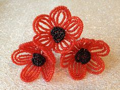 FREE SHIPPING  Poppy French Beaded Flower by FloralUniqueDesign