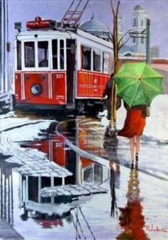 Duomo e tram vecchio ,Milano acquerello 30x45 di Lorenza